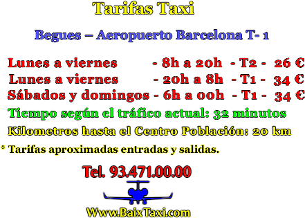 taxi Begues tarifas